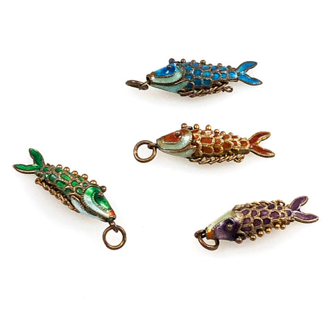 Colorful Enamel Articulated Fish Charms