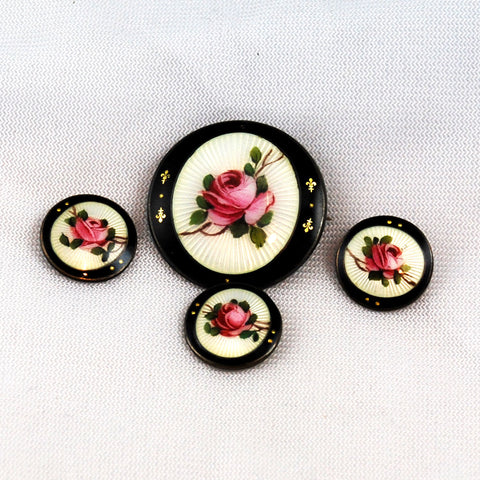 Enamel & Sterling Brooch and Button Set