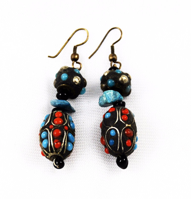 Antique Exotic Kashmiri Beaded Earrings