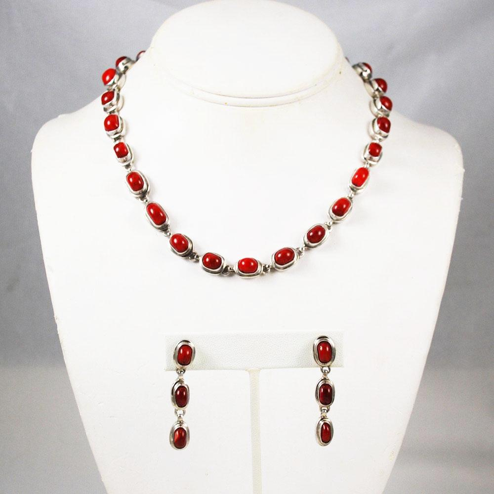 Red Coral & Sterling Necklace Set By EXEX Claudia Agudelo
