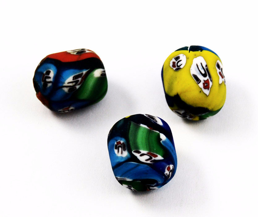 Large Indian Millefiori Glass Face Beads- Barrels