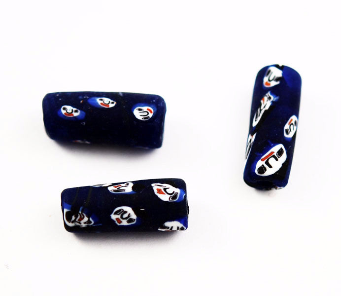 Large Blue Indian Glass Face Tube Beads