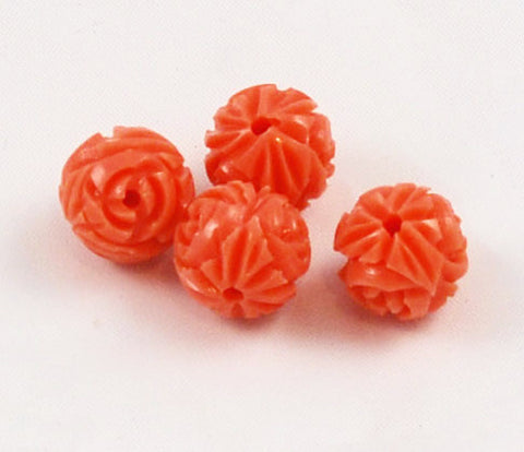 Celluloid Carved Coral Flower Beads