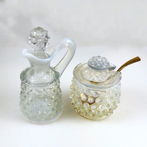 Fenton Hobnail Opalescent Cruet and Condiment Jar