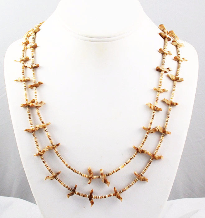 Vintage Zuni Double Strand Fetish Shell Heishe Necklace