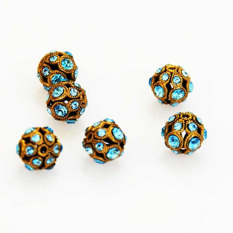 Swarovski Aquamarine & Gold Encrusted Filigree Beads