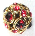 Swarovski Rose & Ruby Gold Encrusted Filigree Beads