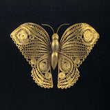 Large Gold Filigree Butterfly Brooch