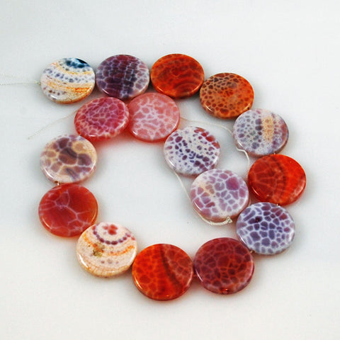 Fire Crackle Agate Coin Beads