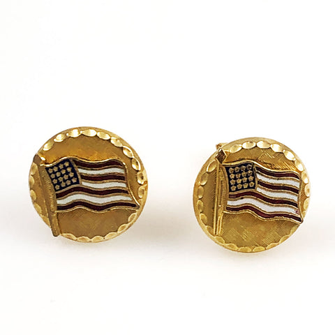Gold USA Flag Enamel Cuff Links