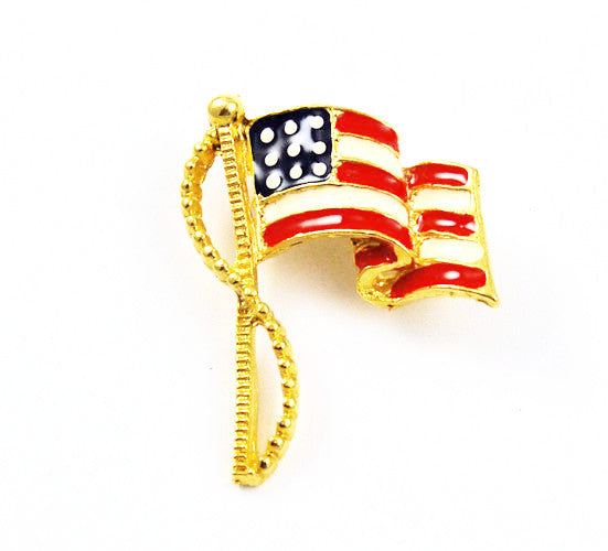 Patriotic Enamel US Flag Brooch Vintage