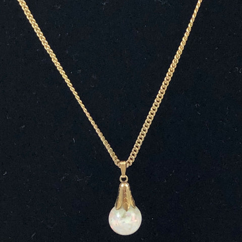 Gold Filled Floating Opal Necklace Vintage