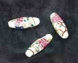 Large Floral Porcelain Elongated Oval Beads