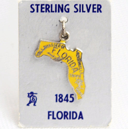 Florida State Sterling Silver Enamel Yellow Charm by Fort