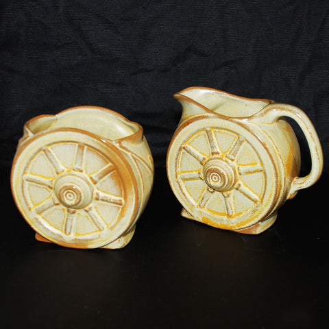 Frankoma Pottery Gold Wagon Wheel Sugar and Creamer