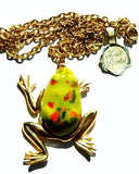 Hand Painted Frog Necklace Vintage