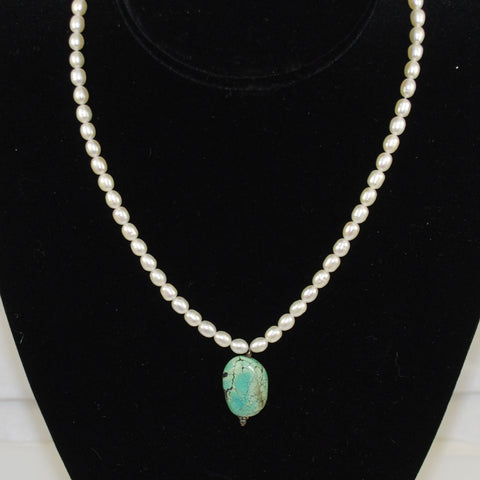 White Freshwater Pearl & Turquoise Necklace