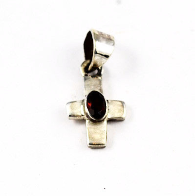 Small Sterling & Garnet Gemstone Cross