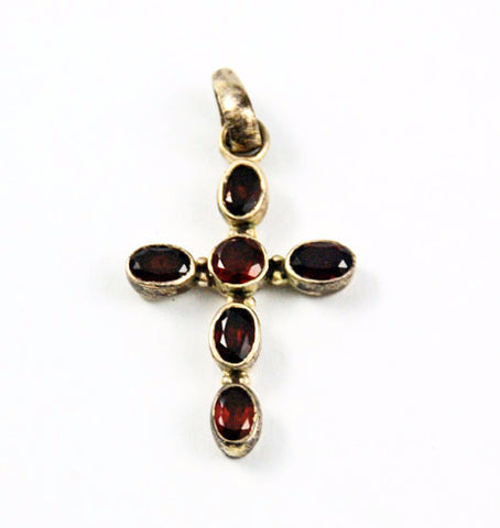 Sterling & Garnet Gemstone Cross