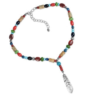 Gemstone Feather Necklace by Carolyn Pollack