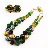 Green & Gold ucite Necklace & Earrings - NWT Germany