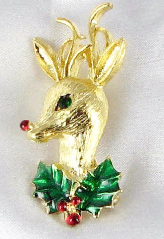 Gerry's Rudolph Reindeer Brooch Holiday Vintage
