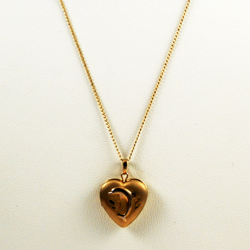 Gold Filled Heart Locket with Dolphin
