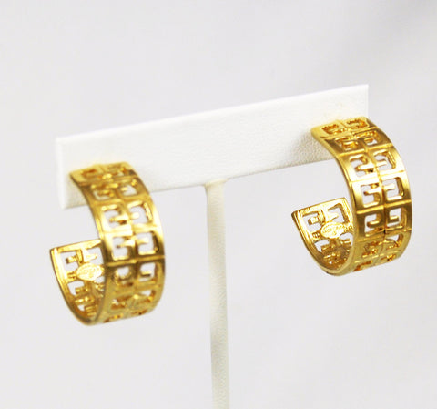 Givenchy Gold Logo Hoop Earrings Signed
