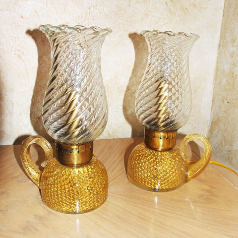 Pair of Barovier and Toso Murano Glass Italian Lamps