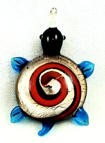 Glass Lamp Work Turtle Pendant