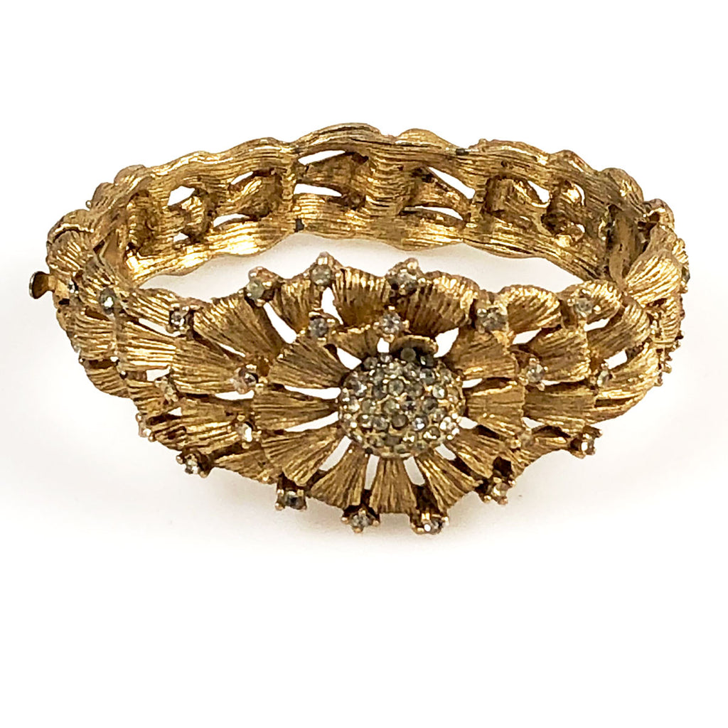 Gold Rhinestone Hinged Bracelet with Floral Design