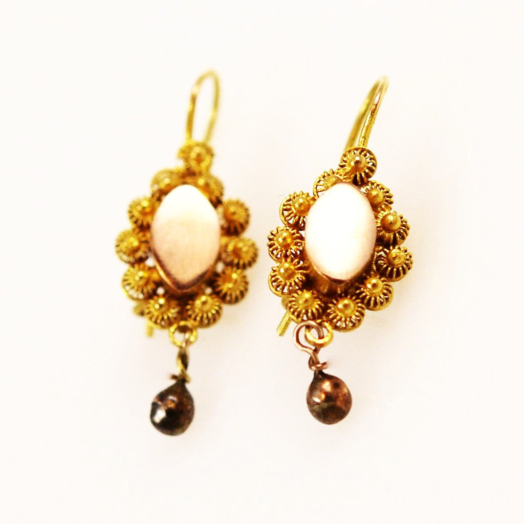 Antique 14K Gold Cannetille Earrings