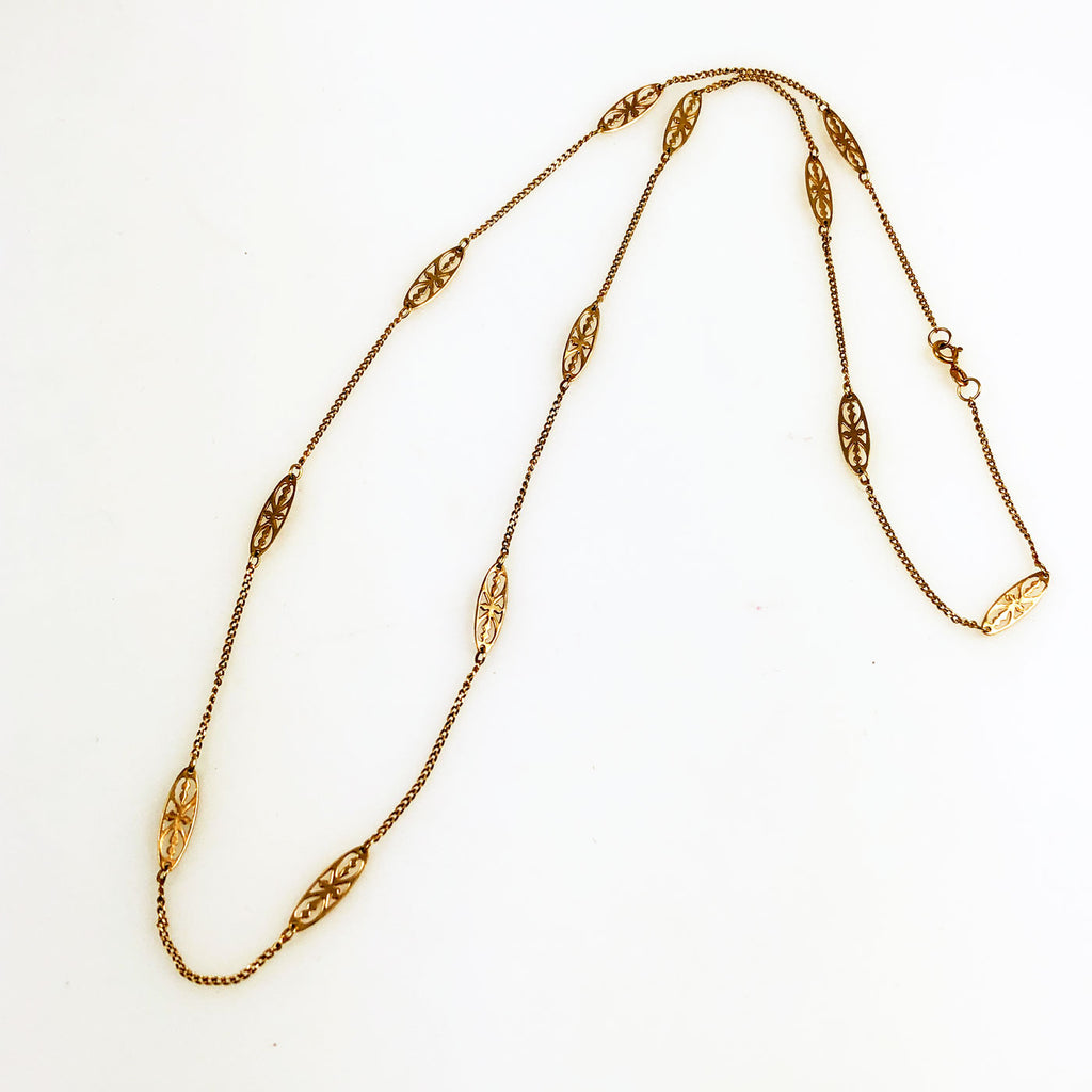 Gold Curb & Filigree Chain Necklace 14K