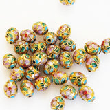 Cloisonne Gold Oval Beads 9 x 7mm