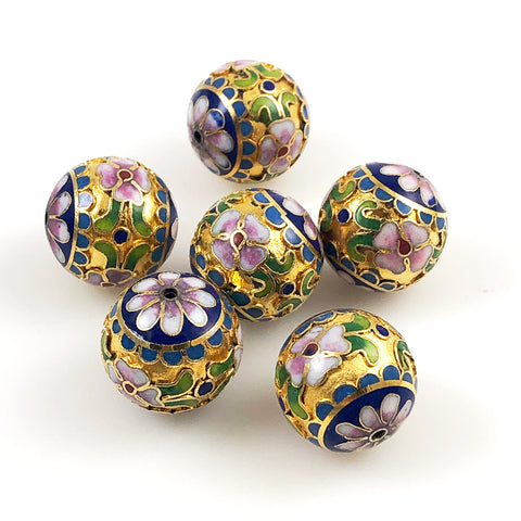Gold Cloisonne Round Beads 20mm