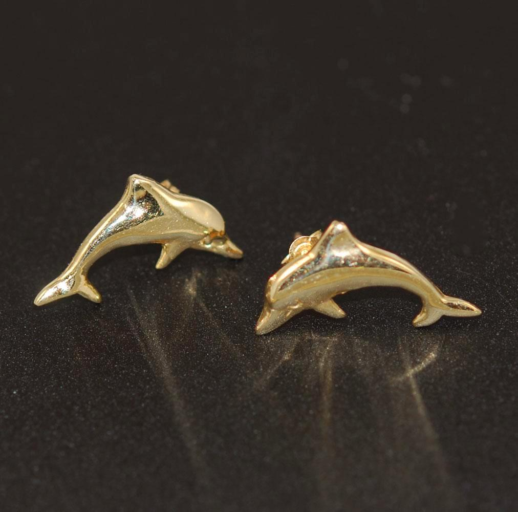 14Kt Gold Dolphin Earrings