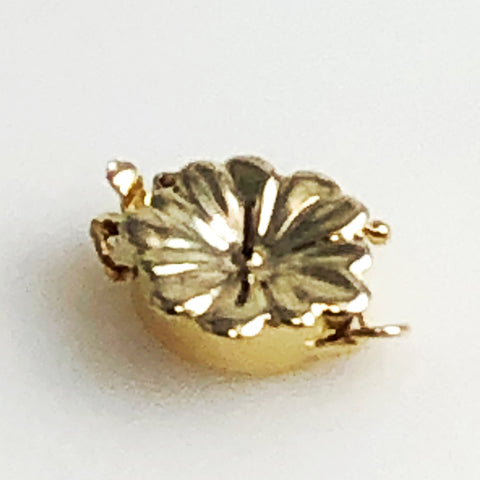 Gold 14K Floral Clasp with Pin and Lock