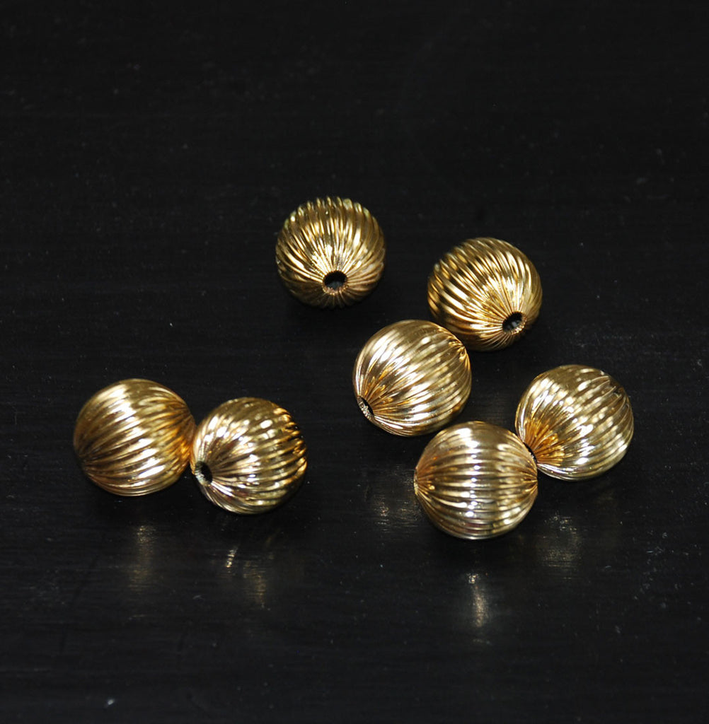 Large Gold Plated Fluted Round Beads 18mm