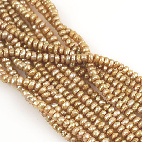 Gold Freshwater Pearl Rondelle Beads