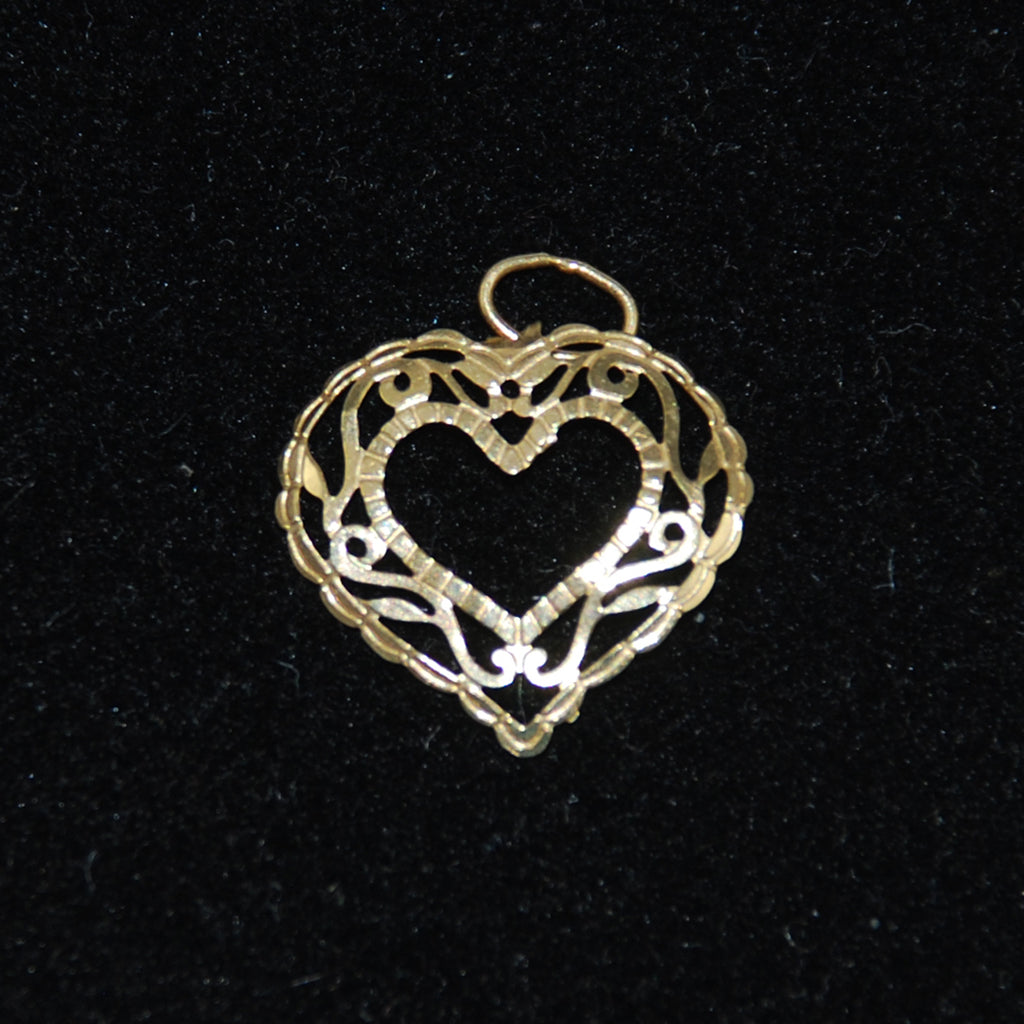 Gold Filigree Heart Charm 14K