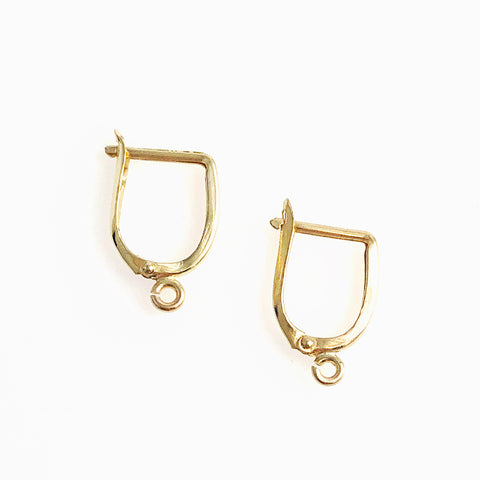 Gold Horseshoe Click In Lever Back Earrings 14K