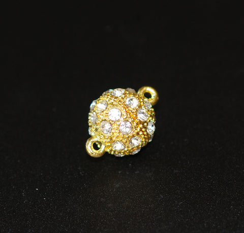Gold Magnetic Rhinestone Clasp Round