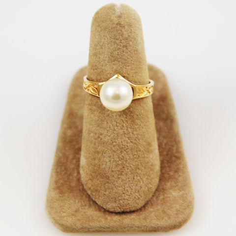 Gold Cultured Pearl Ring 14K