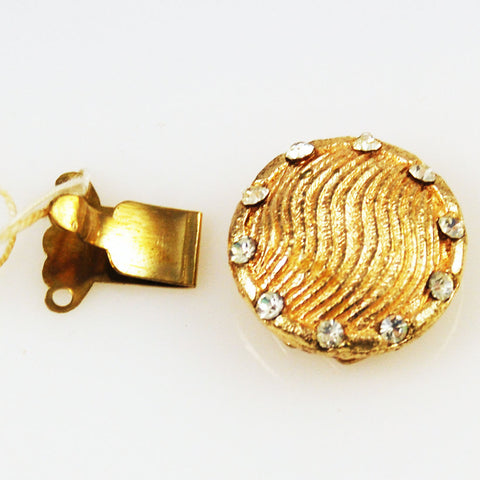 Gold Plated Rhinestone Round Clasp Vintage