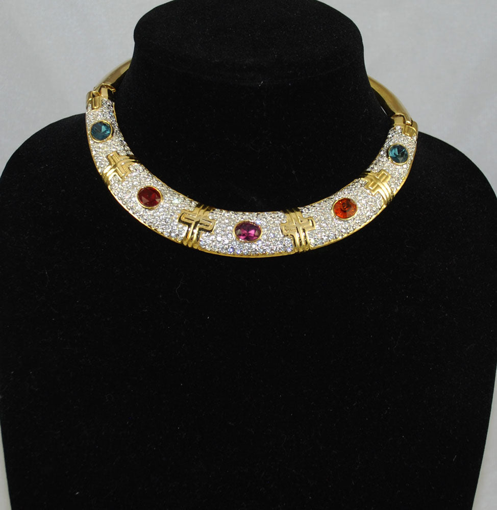 Gold & Rhinestone Choker Necklace