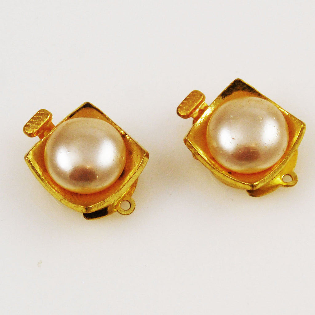 Gold Plated Pearl Box Clasps Vintage