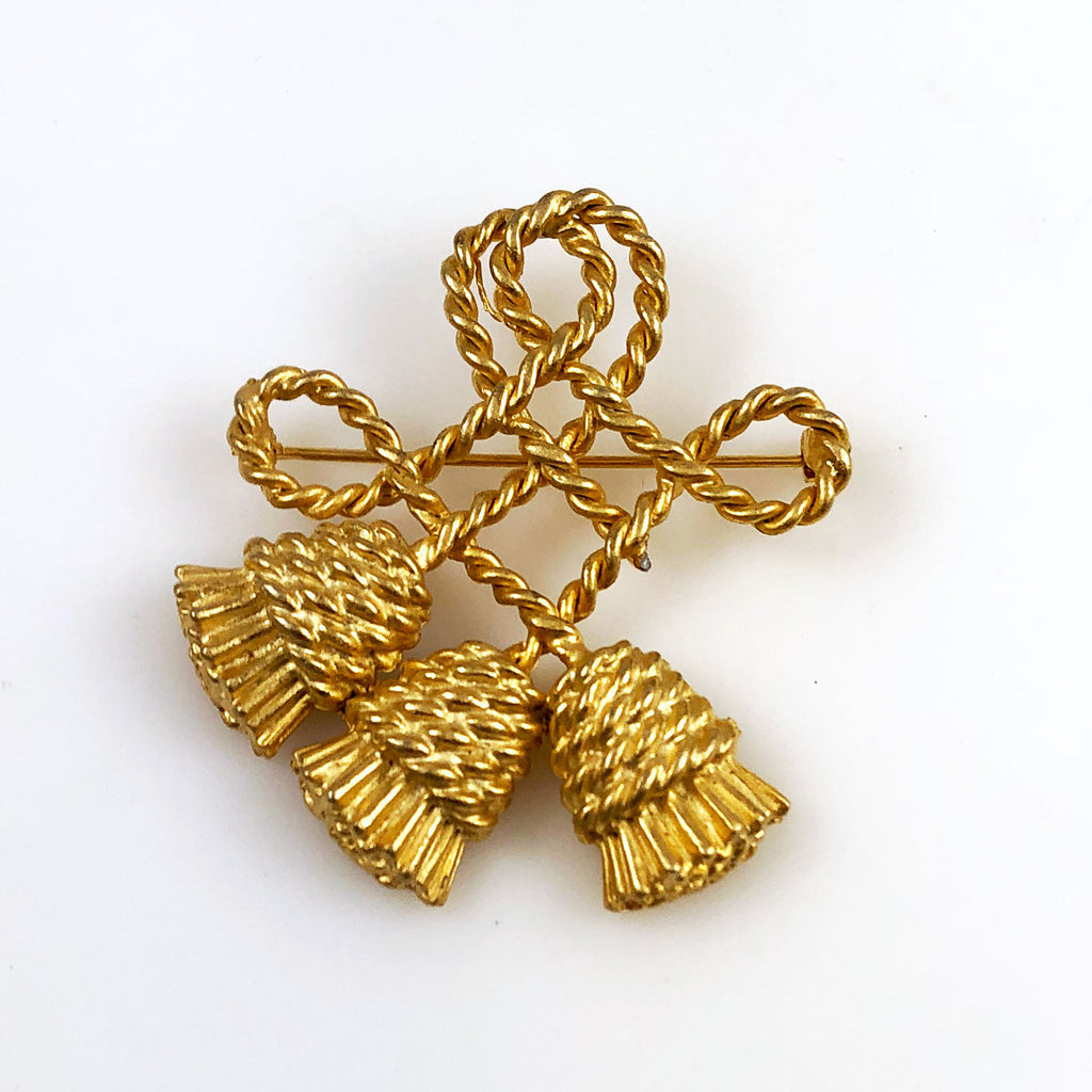 Gold Tassel Brooch