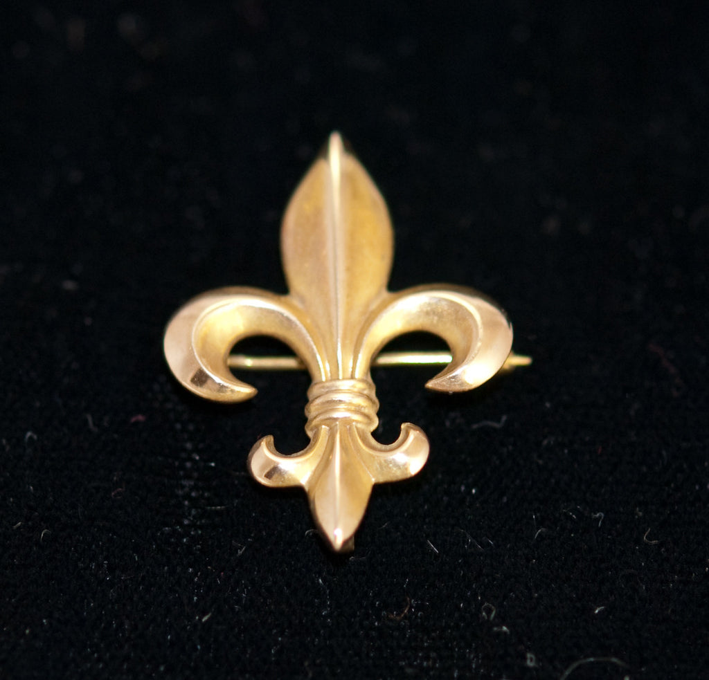 Antique Fleur-de-lis 10K Gold Watch Pin