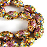 Cloisonne Gold Oval Beads Vintage Chinese
