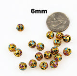 Cloisonne Gold Round Beads Vintage Chinese